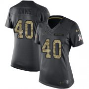 Wholesale Cheap Nike Lions #40 Jarrad Davis Black Women's Stitched NFL Limited 2016 Salute to Service Jersey