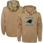 Wholesale Cheap Youth Carolina Panthers Nike Khaki 2019 Salute to Service Therma Pullover Hoodie
