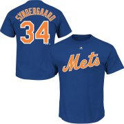 Wholesale Cheap New York Mets #34 Noah Syndergaard Majestic Official Name & Number T-Shirt Royal