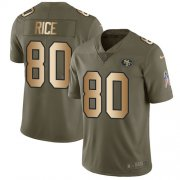Wholesale Cheap Nike 49ers #80 Jerry Rice Olive/Gold Youth Stitched NFL Limited 2017 Salute to Service Jersey
