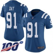 Wholesale Cheap Nike Colts #91 Sheldon Day Royal Blue Women's Stitched NFL Limited Rush 100th Season Jersey