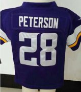 Wholesale Cheap Toddler Nike Vikings #28 Adrian Peterson Purple Team Color Stitched NFL Elite Jersey