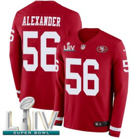 Wholesale Cheap Nike 49ers #56 Kwon Alexander Red Super Bowl LIV 2020 Team Color Youth Stitched NFL Limited Therma Long Sleeve Jersey