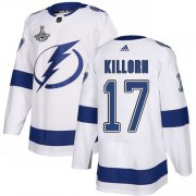 Cheap Adidas Lightning #17 Alex Killorn White Road Authentic Youth 2020 Stanley Cup Champions Stitched NHL Jersey