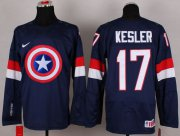 Wholesale Cheap Olympic Team USA #17 Ryan Kesler Navy Blue Captain America Fashion Stitched NHL Jersey