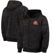 Wholesale Cheap Men's Cleveland Browns G-III Sports by Carl Banks Heathered Black Discovery Sherpa Full-Zip Jacket