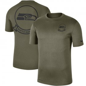 Wholesale Cheap Men\'s Seattle Seahawks Nike Olive 2019 Salute to Service Sideline Seal Legend Performance T-Shirt