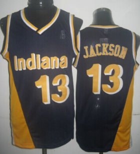 Wholesale Cheap Indiana Pacers #13 Mark Jackson Navy Blue With Yellow Swingman Throwback Jersey
