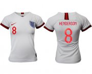 Wholesale Cheap Women's England #8 Henderson Home Soccer Country Jersey