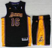 Wholesale Cheap Los Angeles Lakers #16 Pau Gasol Black Revolution 30 Swingman NBA Jerseys Shorts Suits Purple Number 2013 New Style
