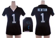 Wholesale Cheap Nike Panthers #1 Cam Newton Black Team Color Draft Him Name & Number Top Women's Stitched NFL Elite Jersey