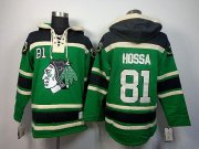 Wholesale Cheap Blackhawks #81 Marian Hossa Green St. Patrick's Day McNary Lace Hoodie Stitched NHL Jersey