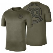 Wholesale Cheap Green Bay Packers #33 Aaron Jones Olive 2019 Salute To Service Sideline NFL T-Shirt