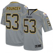 Wholesale Cheap Nike Steelers #53 Maurkice Pouncey Lights Out Grey Men's Stitched NFL Elite Jersey