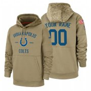 Wholesale Cheap Indianapolis Colts Custom Nike Tan 2019 Salute To Service Name & Number Sideline Therma Pullover Hoodie