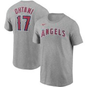 Wholesale Cheap Los Angeles Angels #17 Shohei Ohtani Nike Name & Number T-Shirt Gray