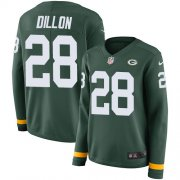 Wholesale Cheap Nike Packers #28 AJ Dillon Green Team Color Women's Stitched NFL Limited Therma Long Sleeve Jersey