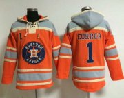 Wholesale Cheap Astros #1 Carlos Correa Orange Sawyer Hooded Sweatshirt MLB Hoodie