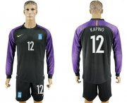 Wholesale Cheap Greece #12 Kapino Black Goalkeeper Long Sleeves Soccer Country Jersey