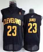Wholesale Cheap Cleveland Cavaliers #23 LeBron James Black With Gold Swingman Jersey