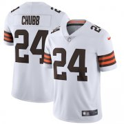 Wholesale Cheap Cleveland Browns #24 Nick Chubb Men's Nike White 2020 Vapor Limited Jersey