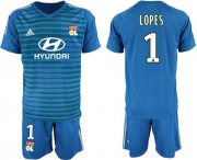 Wholesale Cheap Lyon #1 Lopes Blue Goalkeeper Soccer Club Jersey