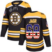 Wholesale Cheap Adidas Bruins #68 Jaromir Jagr Black Home Authentic USA Flag Stanley Cup Final Bound Stitched NHL Jersey
