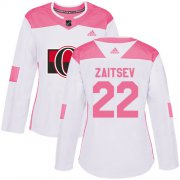 Wholesale Cheap Adidas Senators #22 Nikita Zaitsev White/Pink Authentic Fashion Women's Stitched NHL Jersey