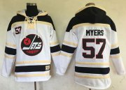 Wholesale Cheap Jets #57 Tyler Myers White Sawyer Hooded Sweatshirt Stitched NHL Jersey