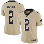 Wholesale Cheap Nike Saints #2 Jameis Winston Gold Men's Stitched NFL Limited Inverted Legend Jersey