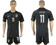 Wholesale Cheap Brazil #11 Oscar Black Soccer Country Jersey