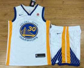 Wholesale Cheap Men\'s Golden State Warriors #30 Stephen Curry White 2017-2018 Nike Swingman Rakuten Stitched NBA Jersey With Shorts