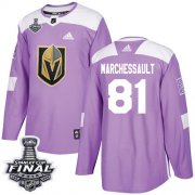 Wholesale Cheap Adidas Golden Knights #81 Jonathan Marchessault Purple Authentic Fights Cancer 2018 Stanley Cup Final Stitched NHL Jersey
