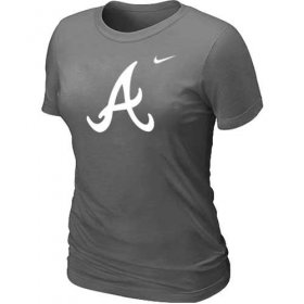 Wholesale Cheap Women\'s Atlanta Braves Heathered Nike Dark Grey Blended T-Shirt