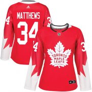 Wholesale Cheap Adidas Maple Leafs #34 Auston Matthews Red Team Canada Authentic Women's Stitched NHL Jersey