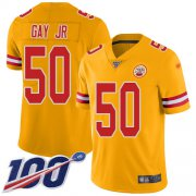 Wholesale Cheap Nike Chiefs #50 Willie Gay Jr. Gold Youth Stitched NFL Limited Inverted Legend 100th Season Jersey