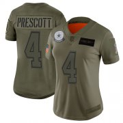 Wholesale Cheap Nike Cowboys #4 Dak Prescott Camo Women's Stitched NFL Limited 2019 Salute to Service Jersey