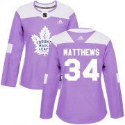 Wholesale Cheap Adidas Maple Leafs #34 Auston Matthews Purple Authentic Fights Cancer Women's Stitched NHL Jersey