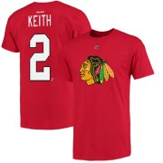 Wholesale Cheap Chicago Blackhawks #2 Duncan Keith Reebok Name and Number Player T-Shirt Red