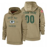 Wholesale Cheap Green Bay Packers Custom Nike Tan 2019 Salute To Service Name & Number Sideline Therma Pullover Hoodie