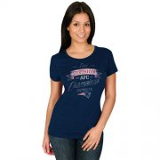 Wholesale Cheap Women's New England Patriots Majestic Navy 2015 AFC East Division Champions T-Shirt