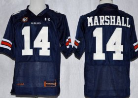 Wholesale Cheap Auburn Tigers #14 Nick Marshall Navy Blue Jersey