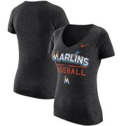 Wholesale Cheap Miami Marlins Nike Women's Practice 1.7 Tri-Blend V-Neck T-Shirt Heathered Black