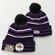 Wholesale Cheap Ravens Team Logo Purple 100th Season Pom Knit Hat YD