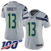 Wholesale Cheap Nike Seahawks #13 Phillip Dorsett Grey Alternate Women's Stitched NFL 100th Season Vapor Untouchable Limited Jersey