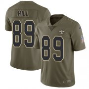 Wholesale Cheap Nike Saints #89 Josh Hill Olive Youth Stitched NFL Limited 2017 Salute to Service Jersey