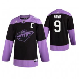 Wholesale Cheap Adidas Wild #9 Mikko Koivu Men\'s Black Hockey Fights Cancer Practice NHL Jersey
