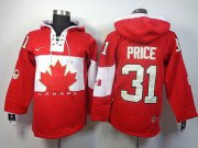 Wholesale Cheap Olympic CA. #31 Carey Price Red Sawyer Hooded Sweatshirt Stitched NHL Jersey