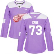 Wholesale Cheap Adidas Red Wings #73 Adam Erne Purple Authentic Fights Cancer Women's Stitched NHL Jersey