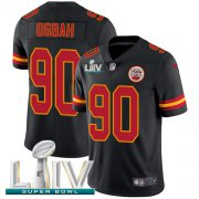 Wholesale Cheap Nike Chiefs #90 Emmanuel Ogbah Black Super Bowl LIV 2020 Youth Stitched NFL Limited Rush Jersey
